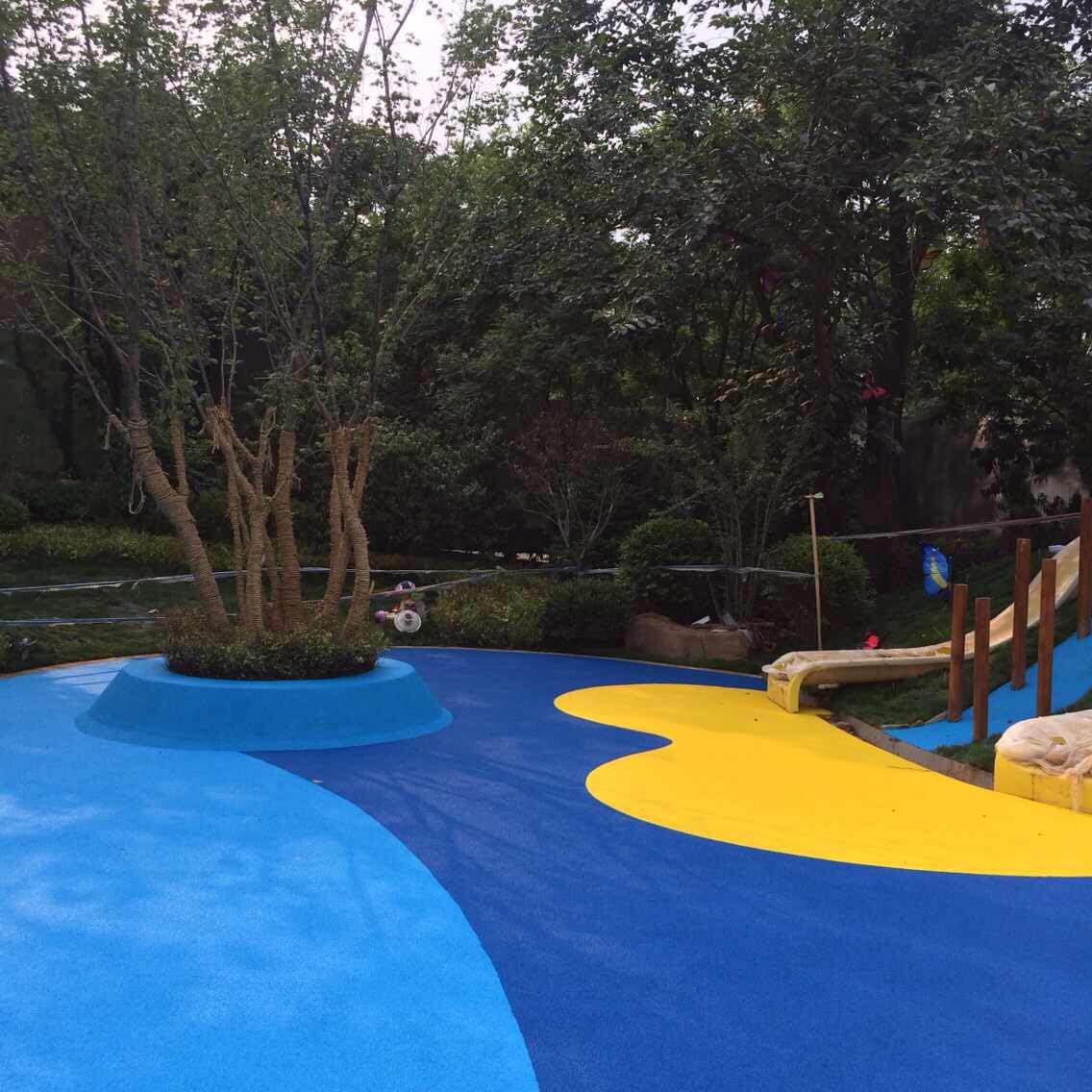 epdm现浇塑胶颗粒地面,25厚蓝色塑胶地垫产品大图
