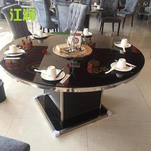 [供应]酒店圆桌玻璃桌不锈钢化玻璃餐桌 隐形隐藏式火锅桌电磁炉火锅