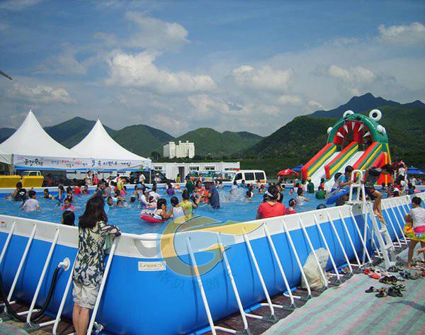大型支架水池户外移动游泳池充气水滑梯支架水池