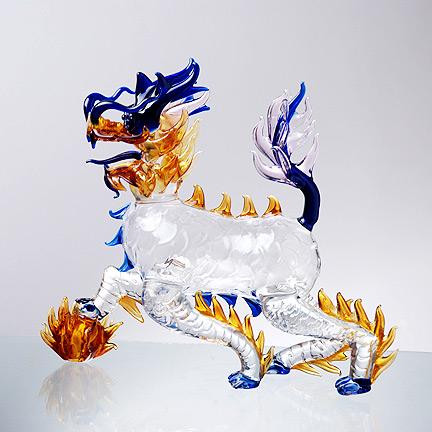 [供应]麒麟酒瓶 创意家居手工玻璃摆件