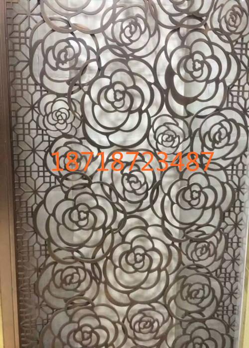欧式花形玫瑰金镂空不锈钢屏风