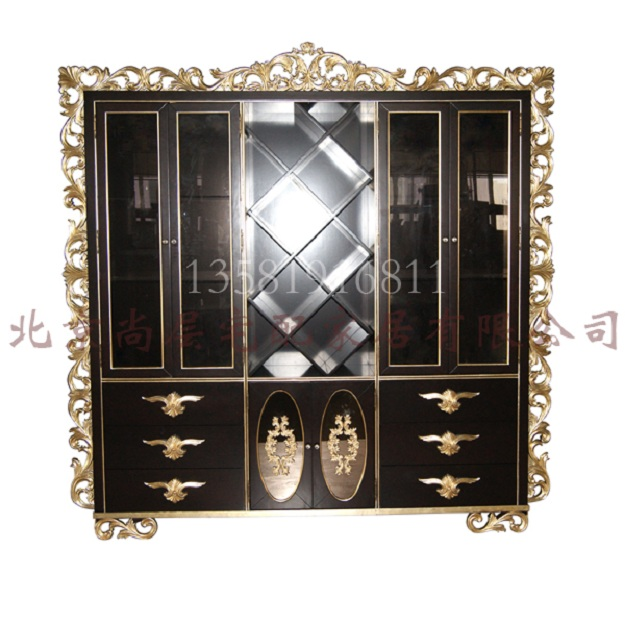 欧式新款装饰家具 金银箔欧式雕刻书柜 欧式实木雕刻镂空欧式书柜